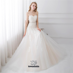 Sweetheart Light Champagne Lace Applique Wedding Dress With Color Beading Sash Bridal Gowns In Stock Robe De Mariage 6