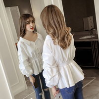 New 2018 Fashion v Neck Button Casual Women tops and Blouses Long Sleeve Turn Down Collar Shirt Vintage OL Tops Female
