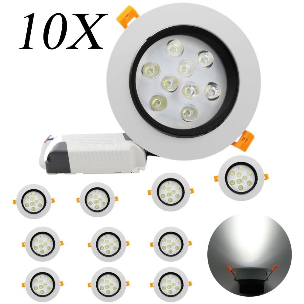 10Pcs 9W LED Ceiling Lamp Spot AC 85V-265V with LED Pilot Waterproof Recessed for bathroom lights indoor lights Spotlight
