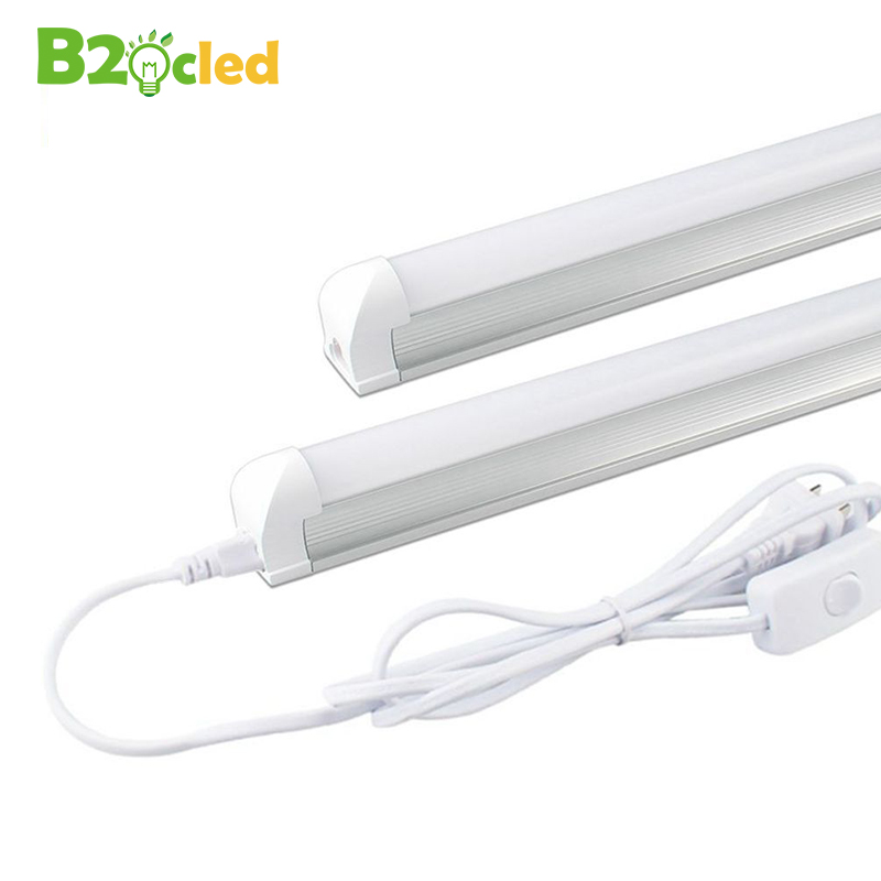 T8 LED Tube Light Integrated Lamp 0.6m 9W 110V 220V 85-265V White/Warm White LED Fluorescent Tube 48leds T8 Bulb Light + EU plug free shipping led tube t8 bulb 8ft 40w 110 277vac r17d converter replace ho fluorescent lamp light