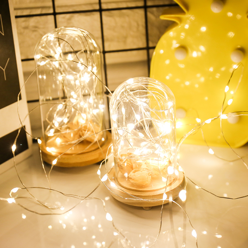 2m 5m 10m LED Copper Silver Wire String Lights For Christmas New Year Home Wedding Decoration Fairy Garland Powered AA Battery