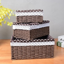 Rattan basket imitate for storage with lining key food fruit straw boxes hand made eco-friendly household table