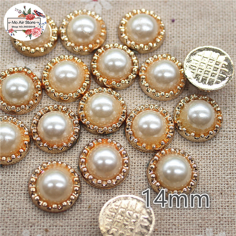 50pcs 14mm Golden Flower Pearl Plastic Flatback Button Decoration Sewing Craft Scrapbook Accessories