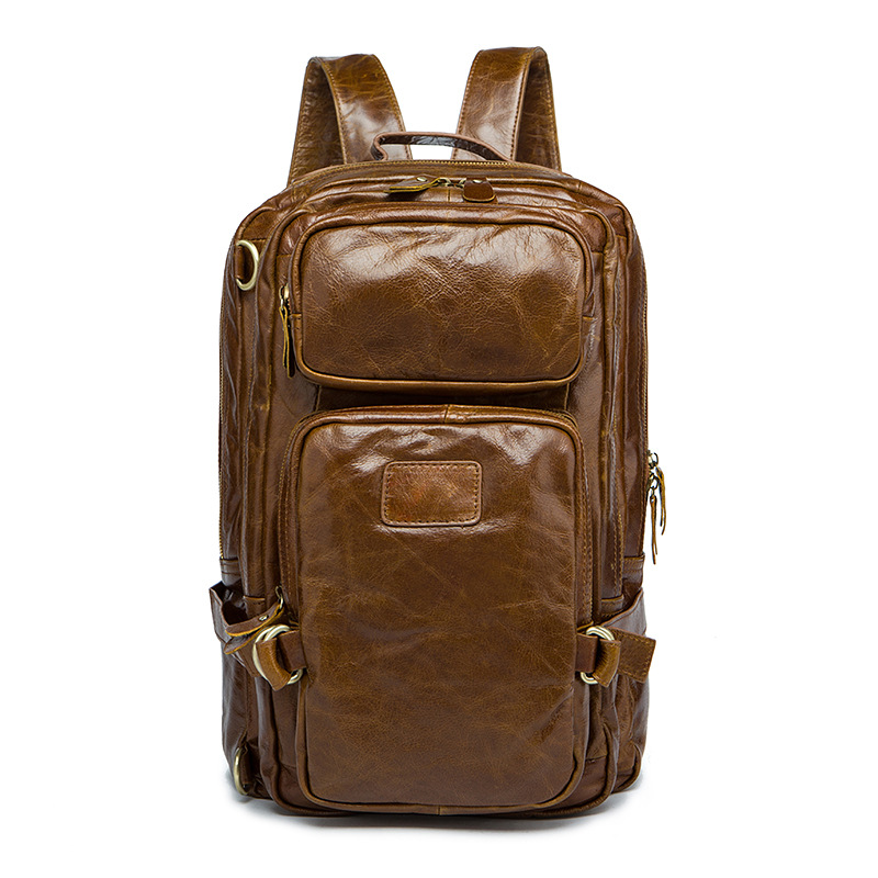 Luxury Real Genuine Leather Men Backpack Business Laptop Backpack Multi fuction Shoulder Bags Men's Fashion Casual Travel Bags