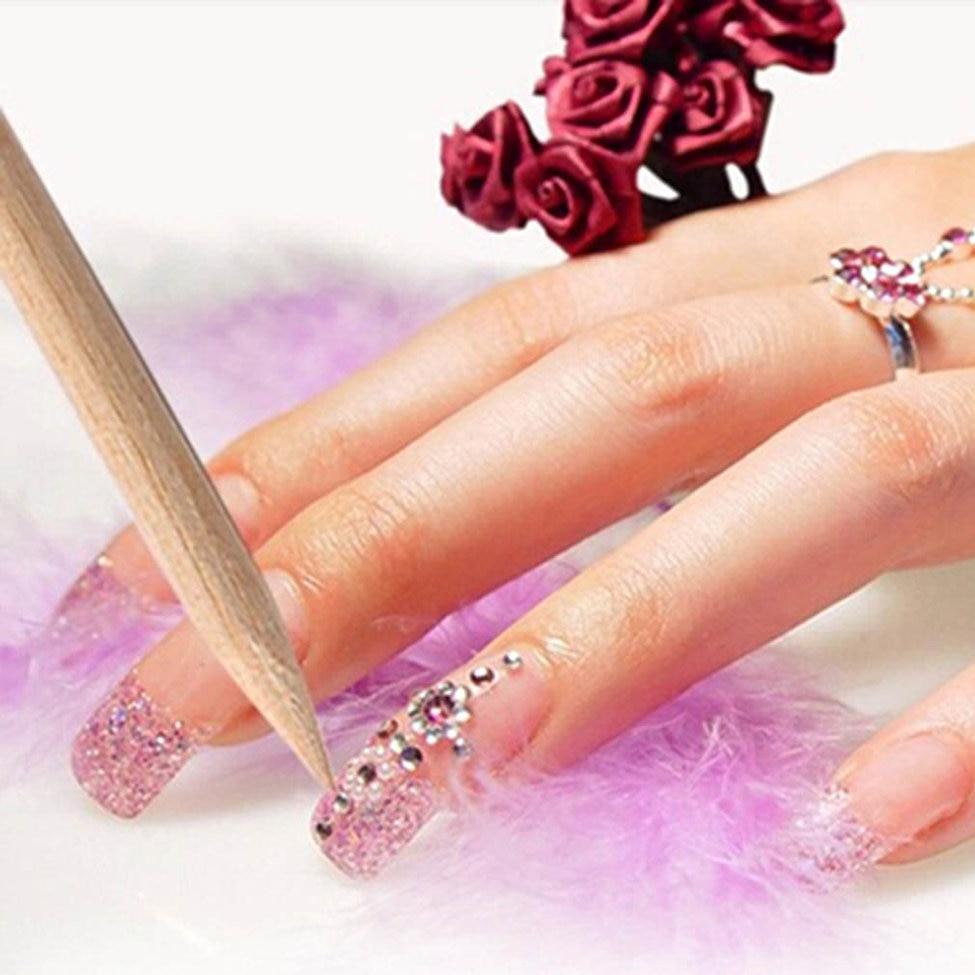New 100Pcs Nail Art Orange Wood Stick Cuticle Pusher Remover Nails Care Tool