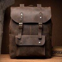 Из натуральной кожи Для мужчин рюкзаки Мужской школьная сумка нейтральный Портативный рюкзак для подростков мальчиков школьный дорожная с