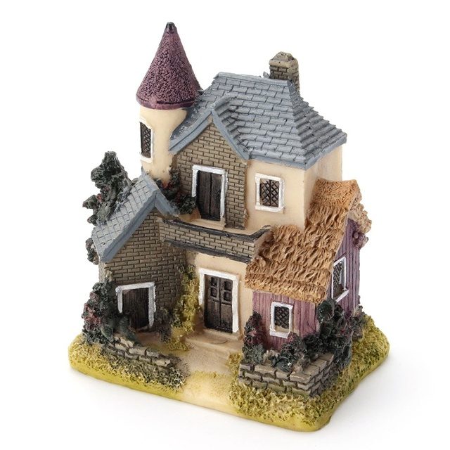 Vintage Mini Resin House Miniature House Fairy Garden Micro Landscape Home Garden Decoration Resin Crafts 4 styles Color Random 2