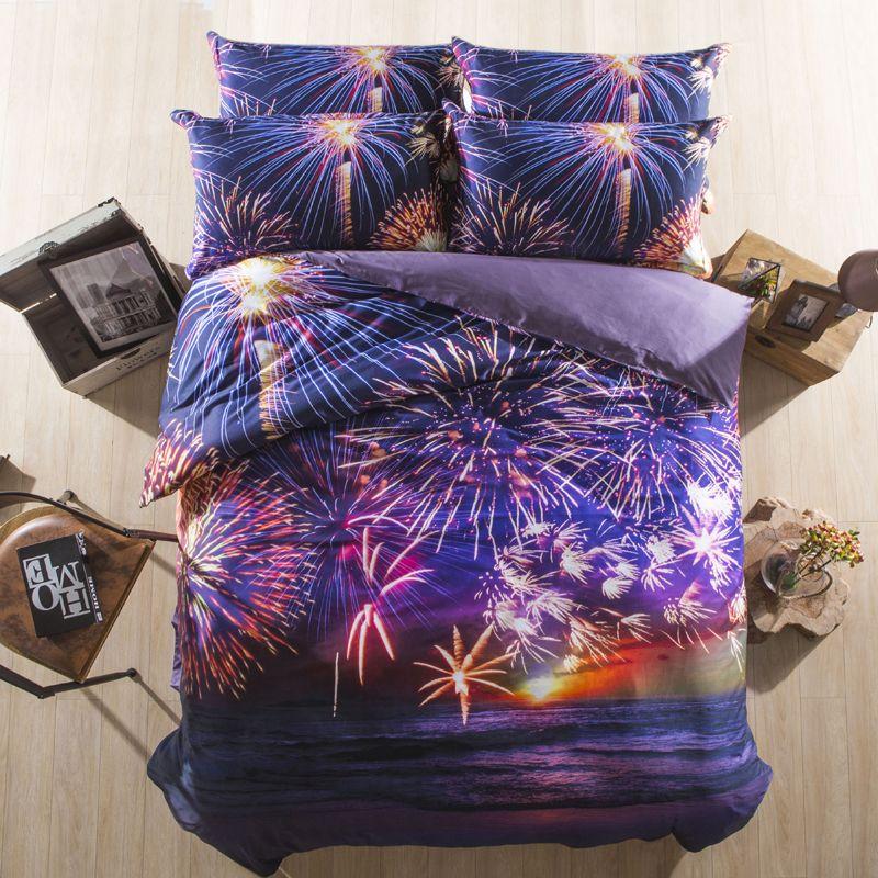 100 baumwolle 3d bettw sche feuerwerk kinder elefanten bettw sche sets wei und lila bettbezug. Black Bedroom Furniture Sets. Home Design Ideas