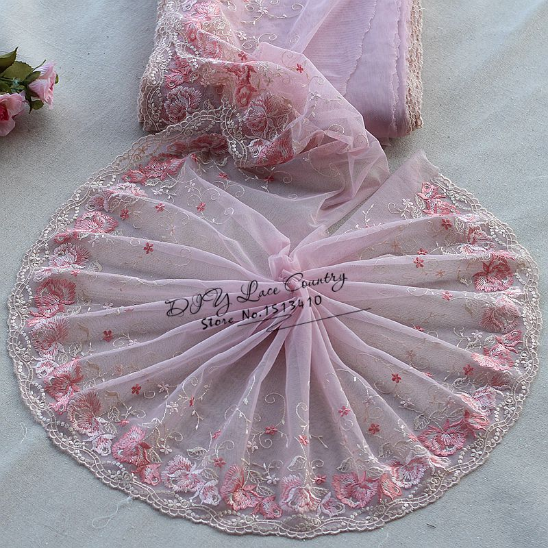 f98c9951798780 Darmowa wysyłka 2 m/dużo 23 cm szerokości Haftowane Floral Koronki  Wykończenia ~ Różowy ~ piękne ~
