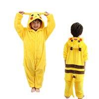 Cute Children Pajamas Set Unisex Flannel Kids Pijamas Animal Cartoon Pokemon Pikachu Pyjamas Hoodie Winter Girl