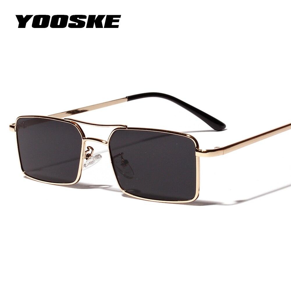 YOOSKE New Square Sunglasses Women Retro Men Brand Designer Sun Glasses Vintage Gradient Mirrored Metal Frame Glasses