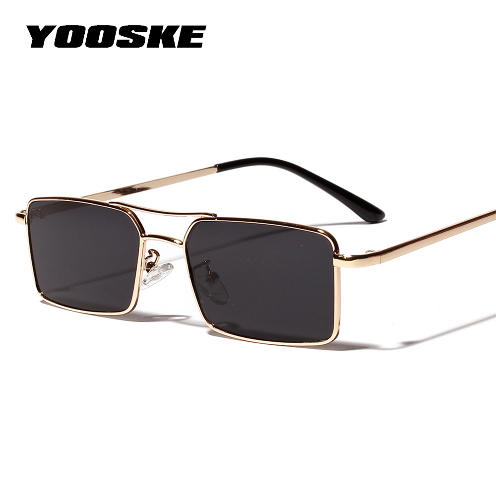 YOOSKE New Square Sunglasses Women Retro Men Brand Designer Sun Glasses Vintage Gradient Mirrored Metal Frame Glasses