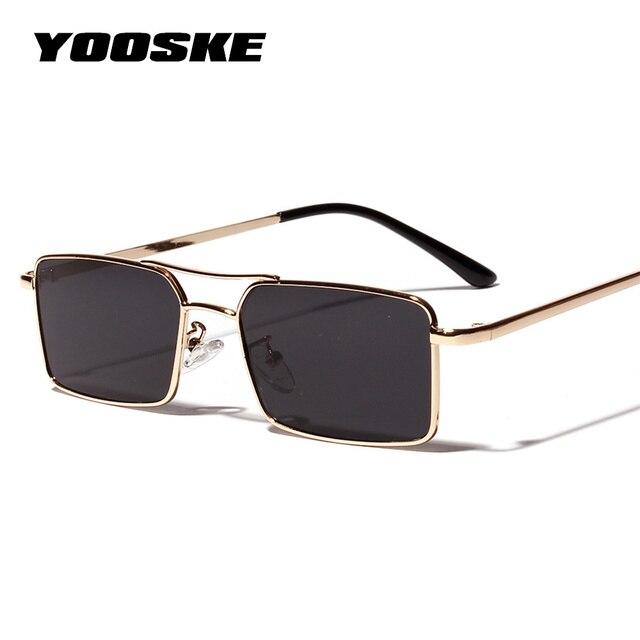 YOOSKE nowe kwadratowe okulary przeciwsłoneczne damskie Retro mężczyźni marka projektant okulary przeciwsłoneczne Vintage gradientowe lustrzane