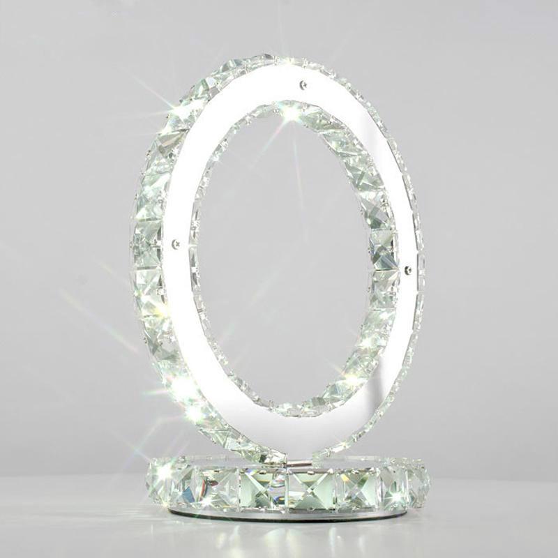 Lampe de table en cristal romantique créative 85-265 V D300mm a mené des lampes de chambre à coucher de bureau d'étude de lampe de bureau de chevet, lampes led ronde