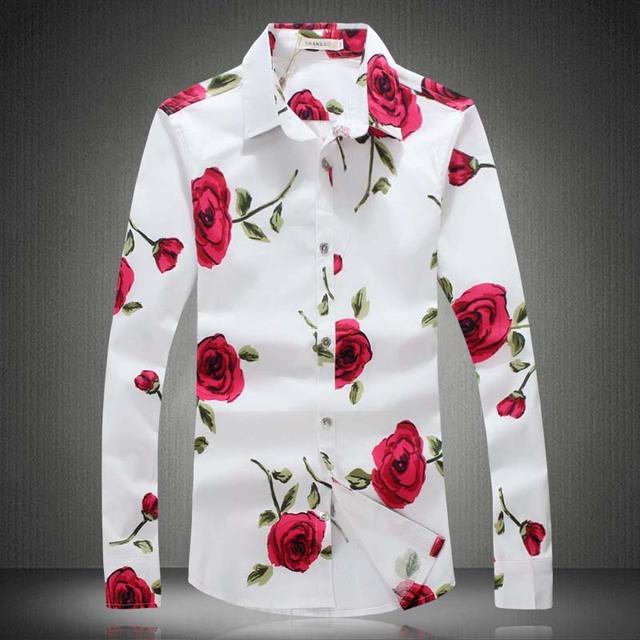Gran Tamaño de Los Hombres Camisa de Vestir de Flores 2017 5XL 4XL Marca Primavera Franela Rose Impreso de Manga Larga Camisetas Masculinas Otoño