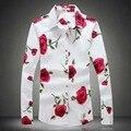 Grande Tamanho Dos Homens Camisa de Vestido Floral 2017 5XL 4XL Marca Primavera Camisas de Flanela de Manga Comprida Rose Impresso Camisetas Masculinas de Outono