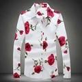 Large Size Men Floral Dress Shirt 2017 5XL 4XL Brand Spring Flannel Long Sleeve Rose Printed Shirts Camisetas Masculinas Autumn