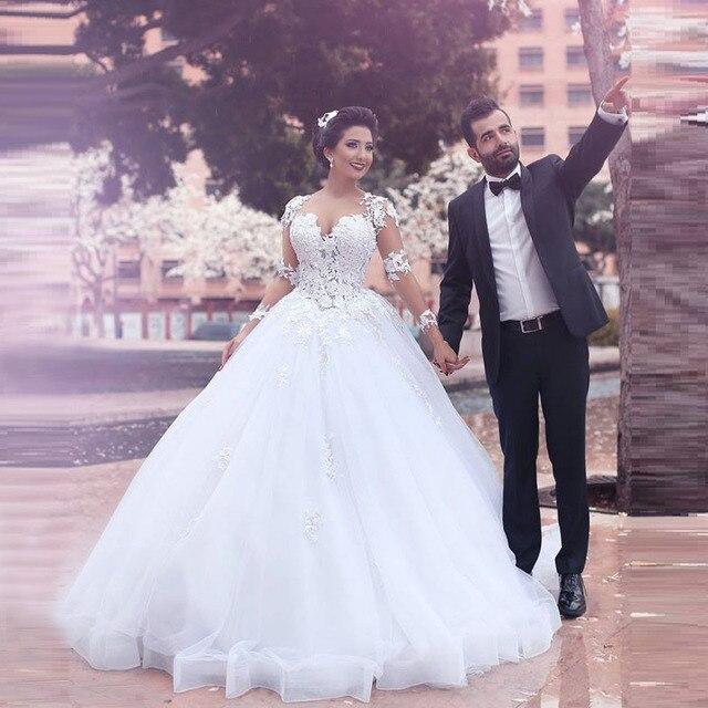 estilo árabe de manga larga blanca vestido de novia de encaje sheer
