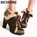 Tamaño 34-43 mujeres media corta tobillo plana botas de nieve del invierno de arranque de algodón hebilla de moda de calidad calzado botas cálidas zapatos