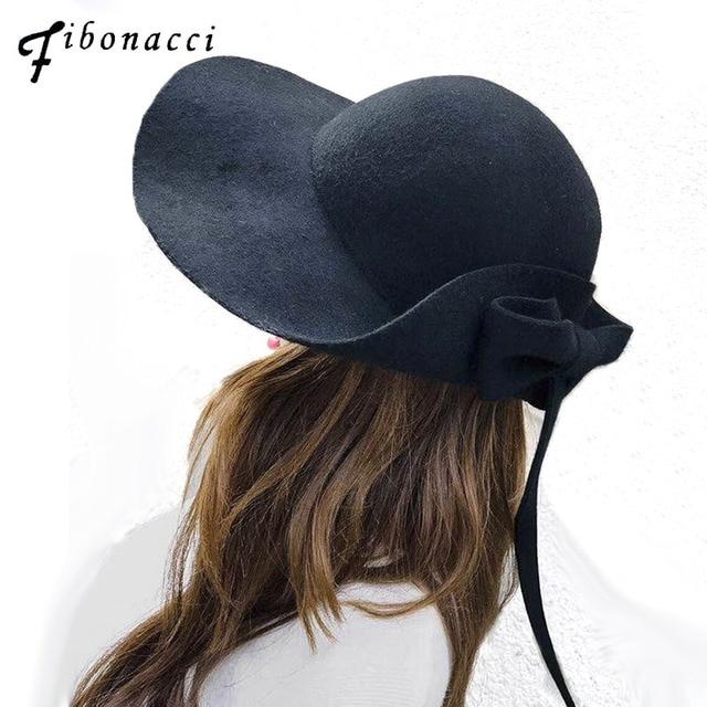 8bbba56924a87 Women Wool Bow Long Tail Fedora Hat Autumn Winter Elegant Girls Fashion Cap  Ladies Felt Hats