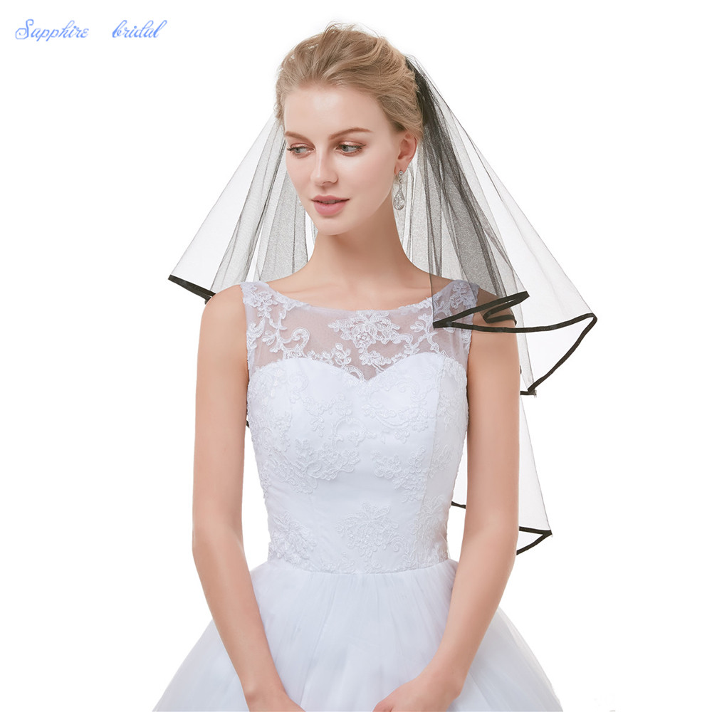 Sapphire Bridal High Quality Wedding Veil 2 layer fingertip White Ivory Black Ribbon Edge Bridal Veil With Comb in stock