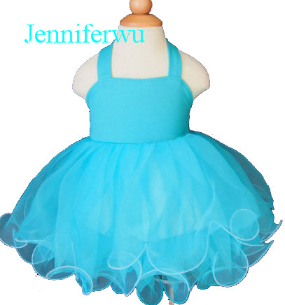 happy baby voyager aqua aqua blue solid baby cloths for flower girl and baby  girl pageant and party dress 1T-6T G128-5