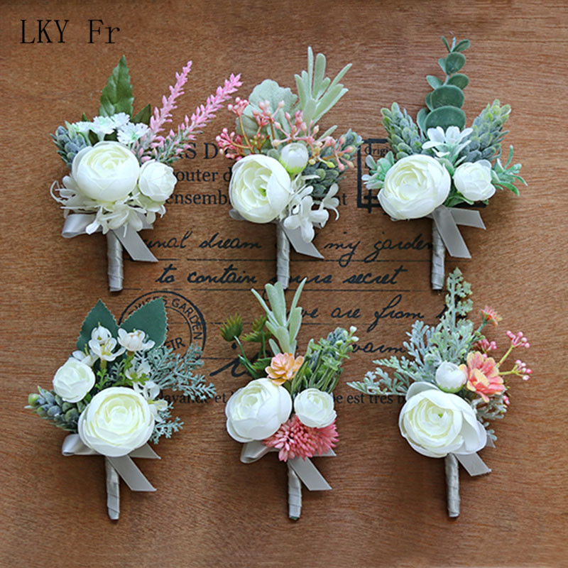 LKY Fr Boutonniere Wedding Corsage Pins White Wedding Corsages And Boutonnieres Buttonhole Silk Roses Man Marriage Accessories