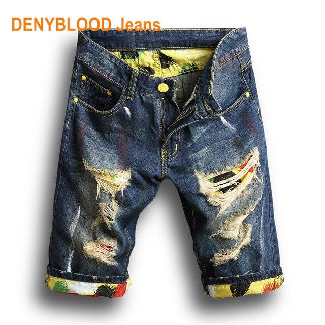 e2f1ce544c98 2017 sommer Herren Distressed Jeans Zerrissene Denim-Shorts Vintage Darked  Waschen Loch Druck Patchwork Capris