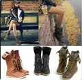 Big size 3.5-12 Combat Military Motorcycle Lace Up Flats Boots Women Leather Shoes New 2015 Fashion Autumn Ladies Vintage Brand
