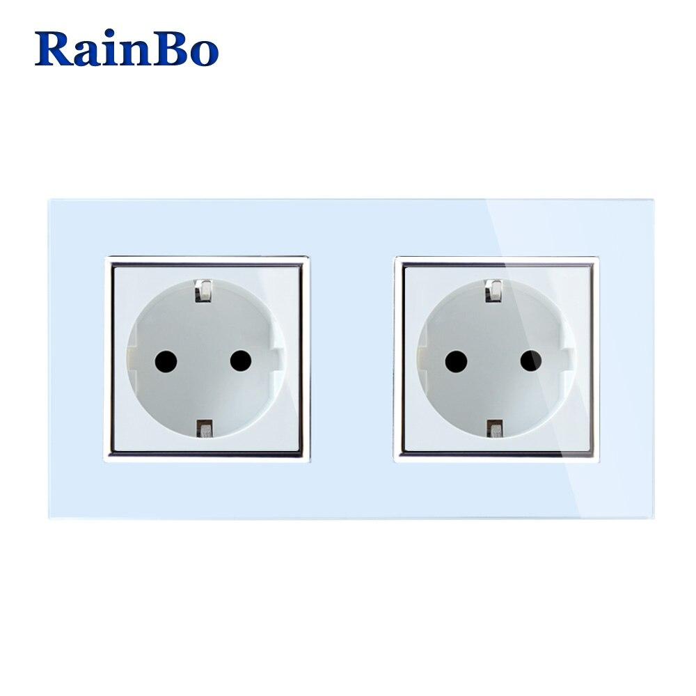 Rainbo pared UE enchufe de pared enchufe estándar panel de vidrio blanco AC Wall Power Smart envío gratis A28E8EW /B
