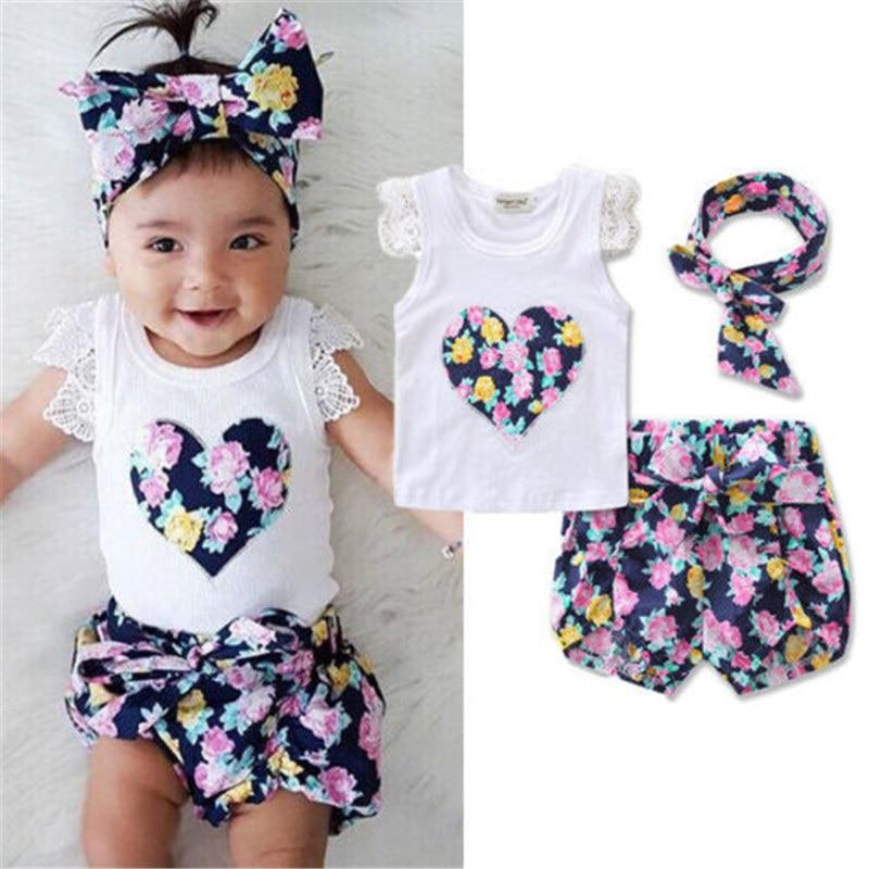 Newborn Kids Baby Girls Clothes Set Summer Outfits Girl Costume Children Clothing T-shirt Tops Denim Pants 3PCS Summer Set