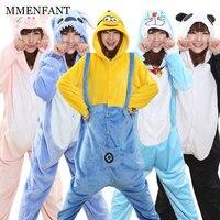 Panda Stitch Unicorn Unisex Flannel Hoodie Pajamas Costume Cosplay Animal Kigurumis Onesies Sleepwear For Adults Women