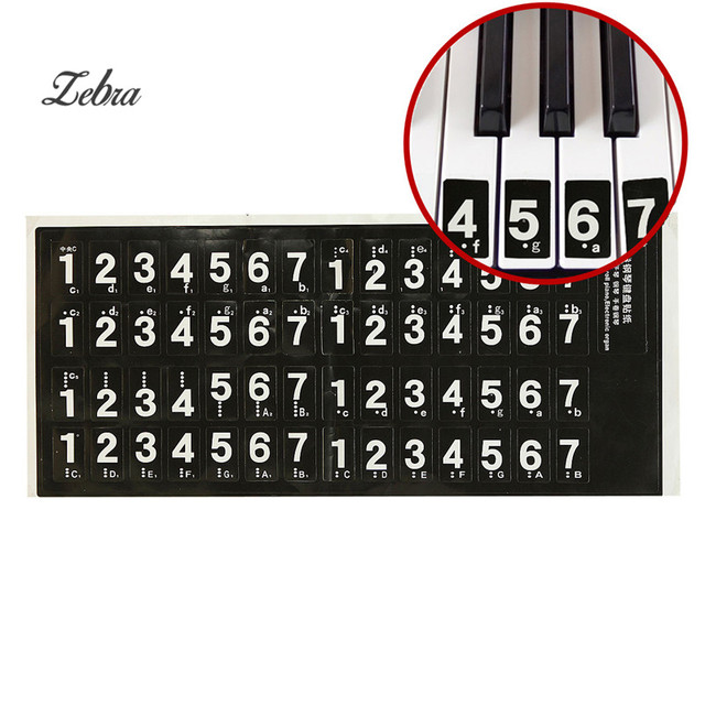 Zebra 14 24mm Piano Keyboard Music Note Sticker Lesson Key Decal
