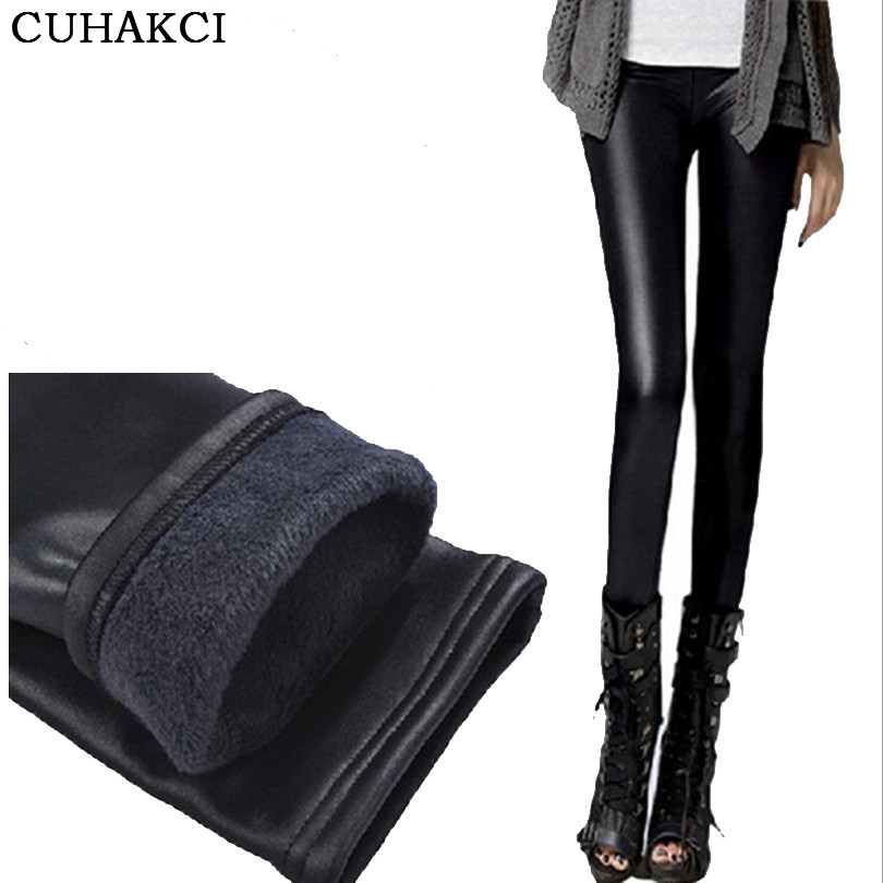 CUHAKCI New Design Black Leather   Leggings   Thickening Skinny Winter   Legging   Warm Casual Trousers Women Leggins High Quality