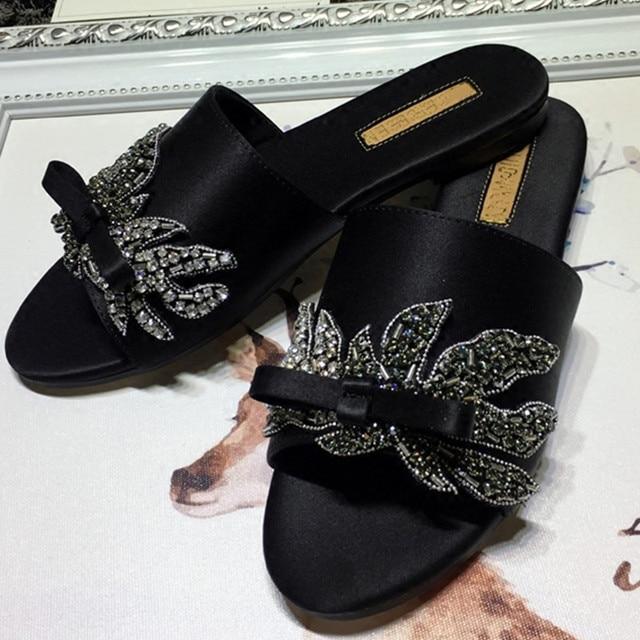 0d946c5b6e6b Rhinestone Fashion Flip Flops Open Toe Casual Flats Summer Black Design  Gladiator Sandals Women 2017 Cute
