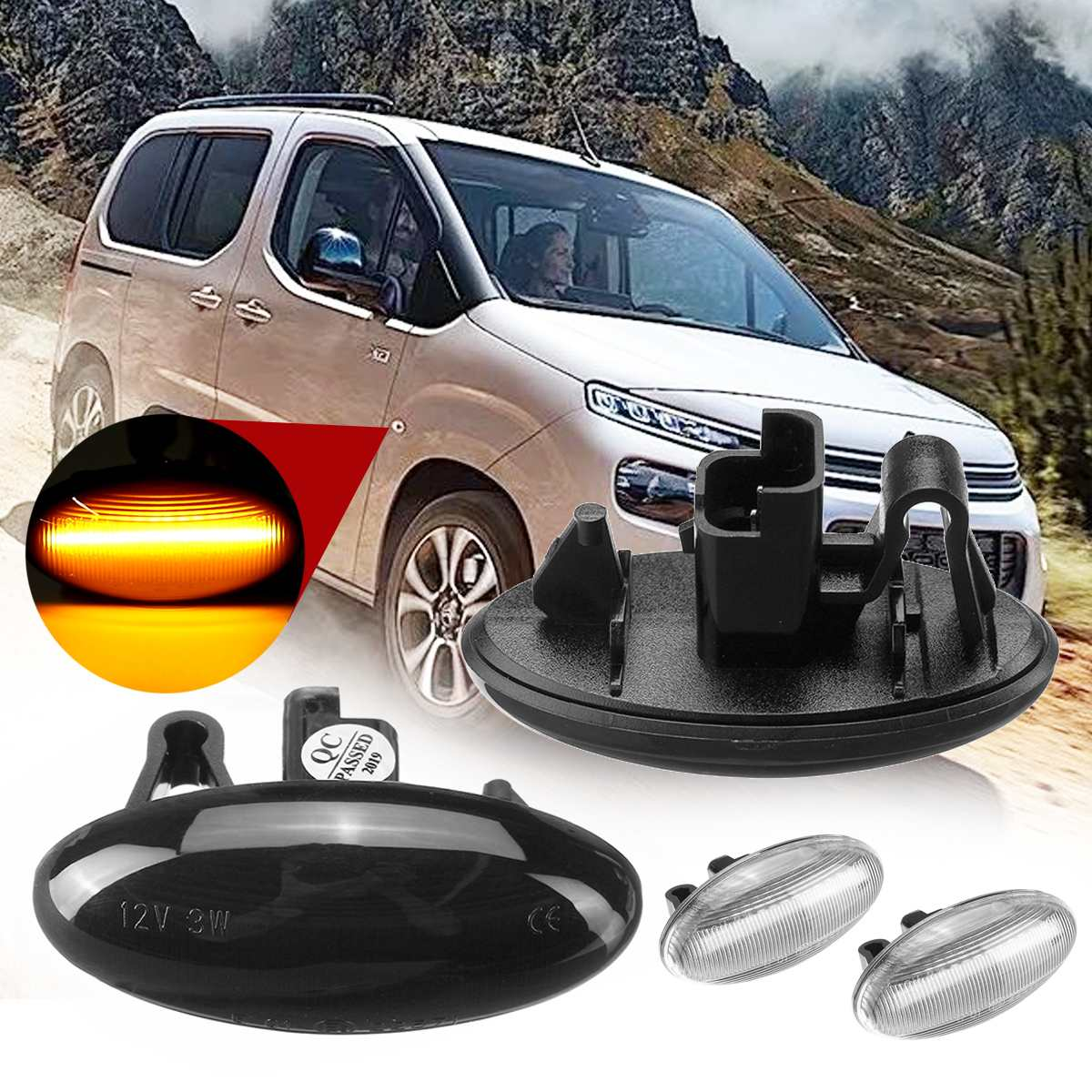 2pcs Dynamic Side Marker Light Flowing <font><b>Led</b></font> Turn Signal 12V Panel Light Side Light Amber for <font><b>Peugeot</b></font> 307 206 <font><b>407</b></font> 107 for Citroen image