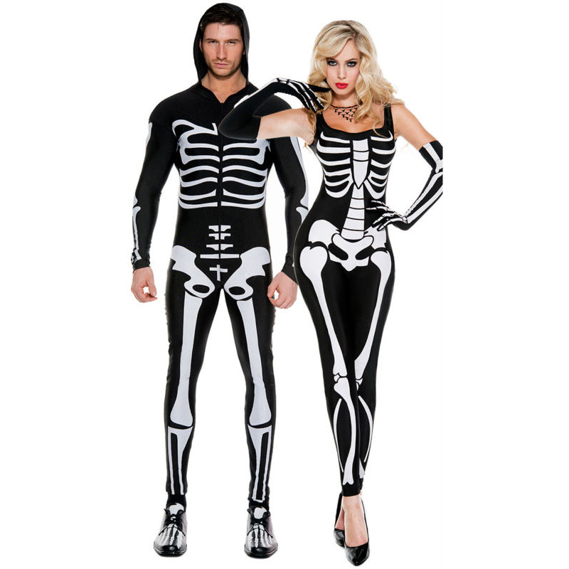 Umorden <font><b>Halloween</b></font> Purim Party Costume <font><b>Sexy</b></font> Adult Scary Monster Demon Skull Skeleton Costumes Jumpsuit for Men <font><b>Women</b></font> Couple image