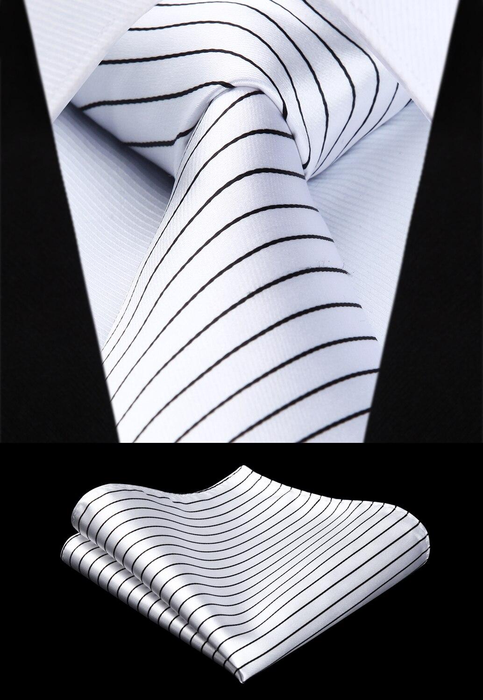 Woven Men Tie White Black Striped Necktie Handkerchief Set# TS614W8S Party Wedding Classic Pocket Square Tie