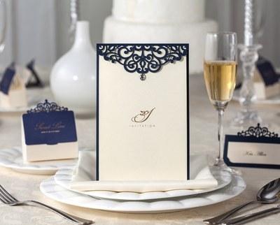 10pcs Invitation Card Hollow Blue <font><b>Diamond</b></font> Wedding Hotel Banquet Menu Personality <font><b>Recipes</b></font> Blank Page