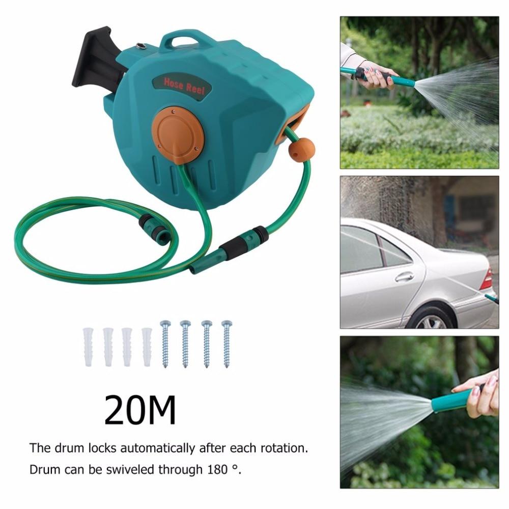 Nova Automática Auto Mangueira de Ar Água de Lavagem Retrátil Carretel Tambor De Limpeza Máquina de Rolamento Fornecedor Jardim Tubo Flexível 20 m