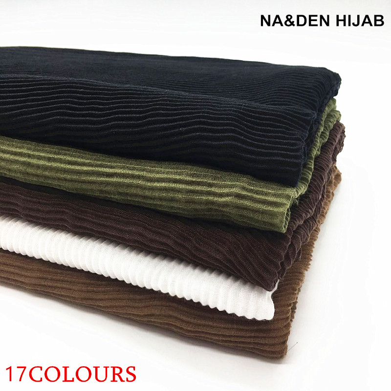17 colors 2018 big size pleated visose hijabs wrinkle scarf elegant shawl plain maxi muslim hijab women wrinkle scarves shawls