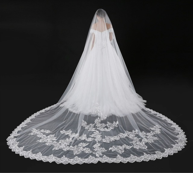 Dhl Royal 500 300cm 1 Layer Lace Cathedral Wedding Veils Ivory Bridal Accessories