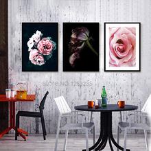 Black Rose Flower Peony Carnation Wall Art Canvas Painting Posters Nordic Poster Picture Pictures For Living Room Unframed