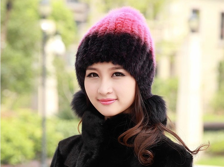 Women elegant knitted hat Real mink fur hat for winter women fur cap with natural fox fur ball high quality ear protection hats