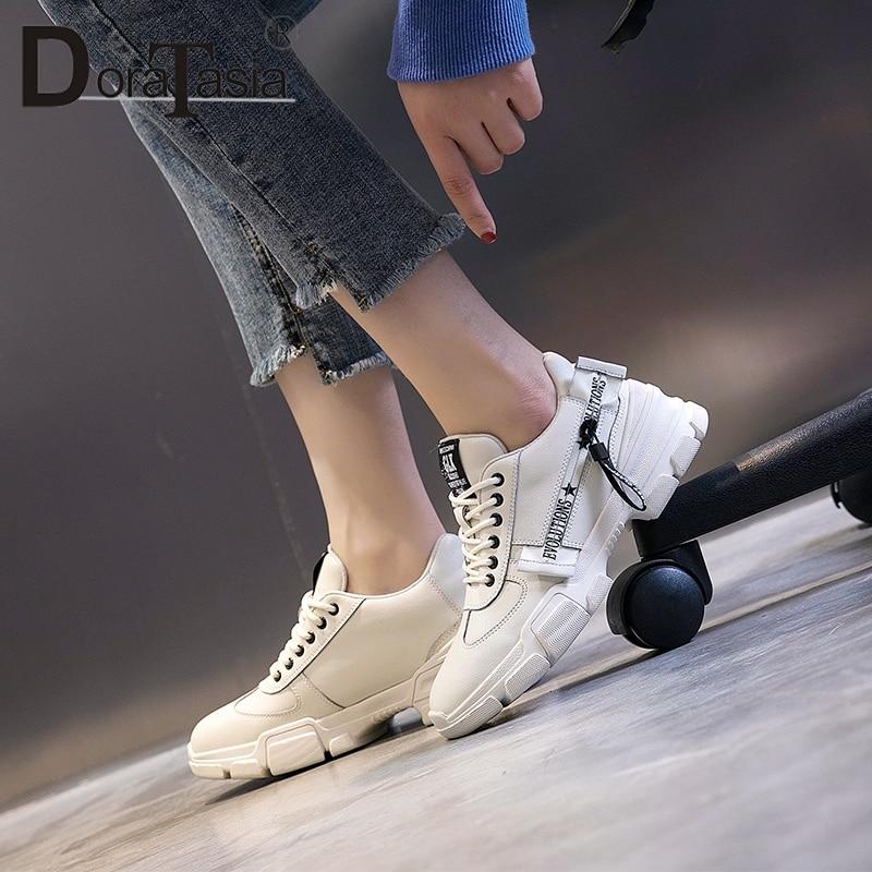 Plate Dames Baskets À 2019 Loisir Sneakers Chaussures En De Pour Doratasia Cuir Beige forme Nouvelle blanc Plat Scission Femme Lacets Twdq7x