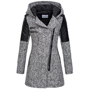 Women Color Block Winter Hooded Zipper Jacket Black Top Casual 2 Colors