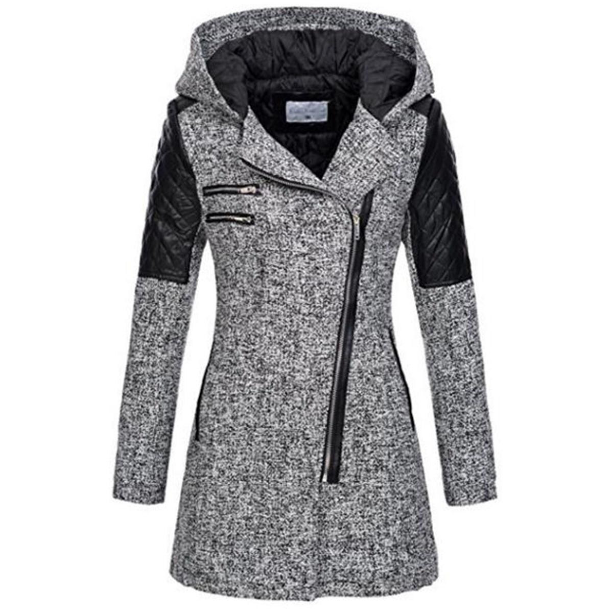 Rosetic Для женщин Цвет блок с капюшоном куртка на молнии Тонкий Зимние Черные Сапоги Топ Base Coat Повседневное девочек смесь верхняя одежда на ос...