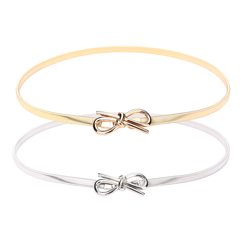 New Fashion   Belt   for Women Bow Clasp Front Stretch Skinny Elastic Woman   Belt   Bowknot Waist Strap Gold/Silver Ceinture Femme