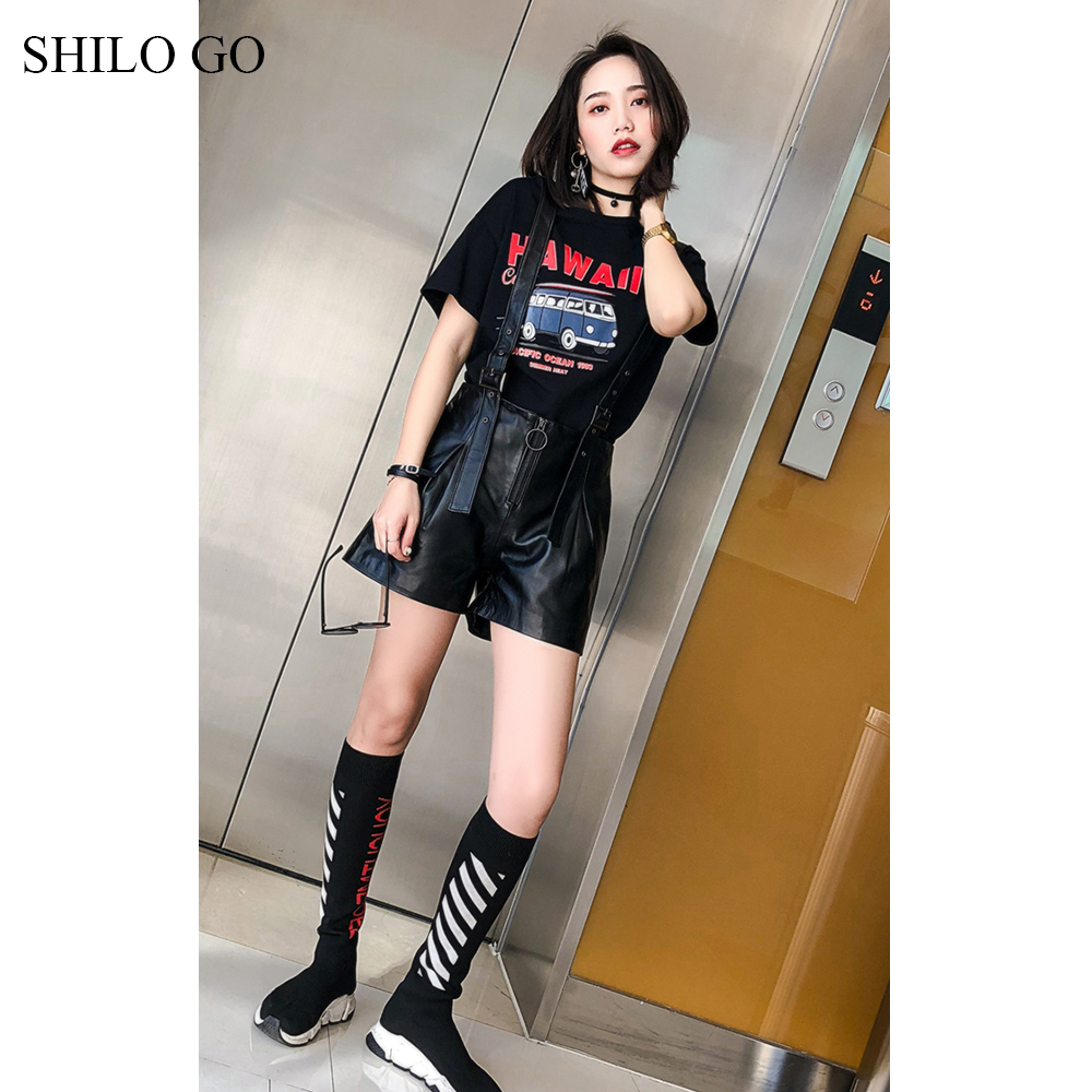 SHILO GO Leather Shorts Womens Spring Fashion sheepskin genuine leather shorts zipper rivet spaghetti strap wide leg overalls ...