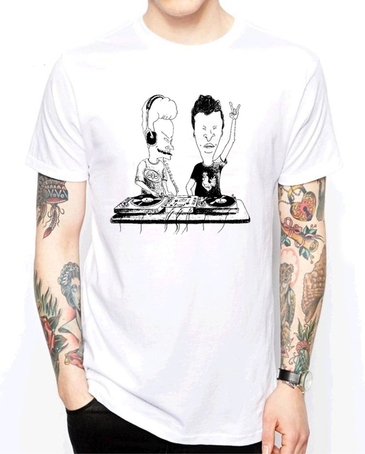 369af05e 2018 New Fashion Brand Clothing Funny cotton T shirt Short sleeve BEAVIS DJ  MUSIC BAND CARTOON